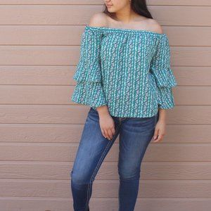 NEW Green Floral Off shoulder Ruffle Sleeve Top